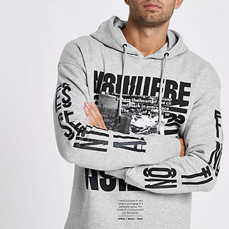 River Island Jack and Jones Core grey marl print hoodie