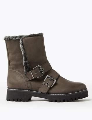 Marks and Spencer Leather Faux Fur Biker Ankle Boots