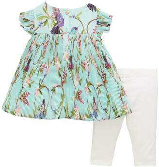 Ted Baker Baby Girls Floral Plisse Top & Legging Outfit - Light Green