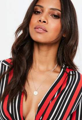 Missguided Rose Gold Look Diamante Layering Necklace