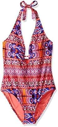 LaBlanca La Blanca Women's V-Front Keyhole Halter One Piece Swimsuit