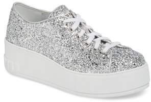 Miu Miu Glitter Platform Sneaker