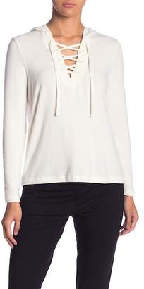 BB Dakota Hooded Front Lace-Up Pullover