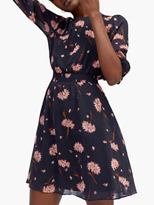 Warehouse Floral Mini Dress, Navy