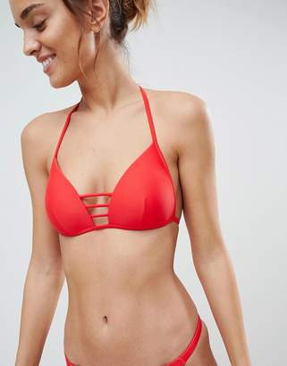 South Beach Red Moulded Triangle Bar Detail Bikini Set