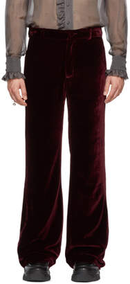 Palomo Spain Burgundy Velvet Trousers