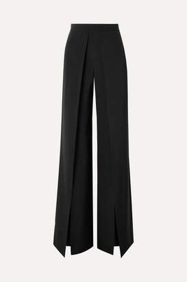 Cushnie Pleated Silk-crepe Wide-leg Pants - Black