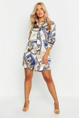 boohoo Plus Chain Printed Satin Shirt Dress