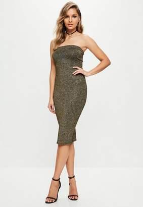 Missguided Gold Metallic Glitter Bandeau Midi Dress