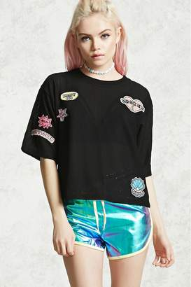 Forever 21 Boxy Embroidered Sheer Tee