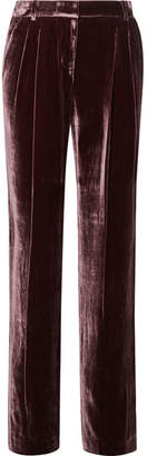 MICHAEL Michael Kors Pleated Velvet Straight-leg Pants - Grape