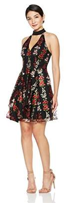Social Graces Women's Mock Neck Floral Embroidered Lace Dress with Back Cutout 4