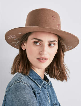 Lucky Brand FLORAL EMBROIDERED WOOL HAT