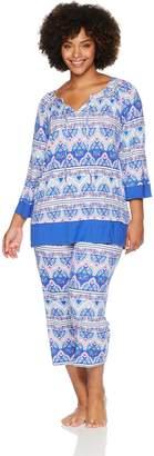 Ellen Tracy Women's Plus Size Batik Paisley Tunic Pajama Set