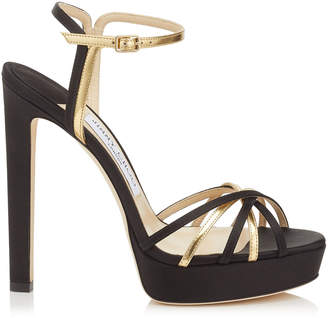Jimmy Choo LILAH 130 Black Satin and Gold Mirror Leather Sandal