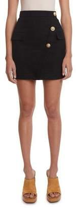 Balmain 3-Button Wrap Skirt