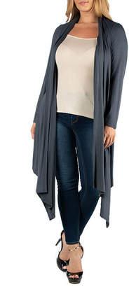 24/7 Comfort Apparel Long Sleeve Knee Length Open Cardigan-Plus