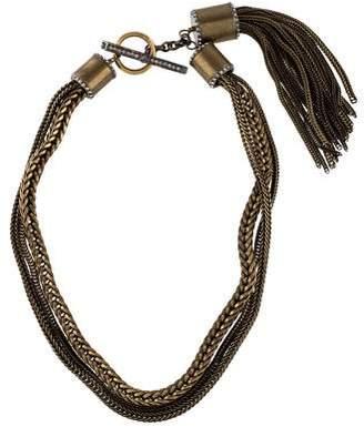 Lanvin Crystal Tassel Multi-Chain Necklace