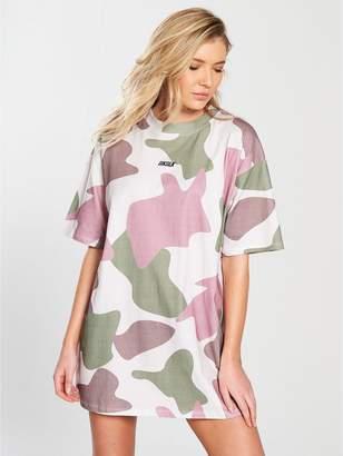SikSilk Oversized Retro Camouflage T-Shirt Dress