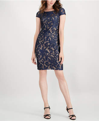 Calvin Klein Sheer Embroidered Dress