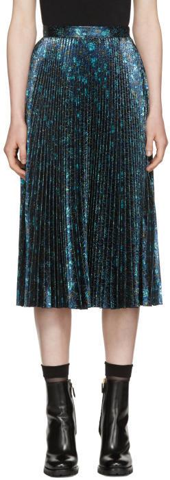 Prada Blue Lurex Jacquard Plissé Skirt