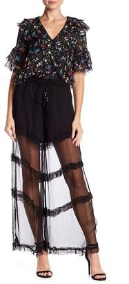 Love Sam Sadie Sheer Wide Leg Pants