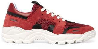 Ami Running Lucky 9 Suede And Mesh Trainers - Mens - Burgundy