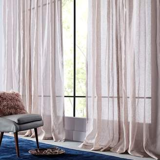 west elm Sheer Metallic Printed Curtain - Dusty Blush