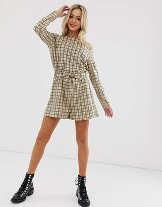 Daisy Street romper with tie waist in vintage check