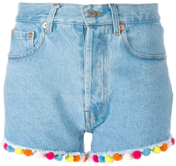 Forte Couture Jeans-Shorts mit Pompons