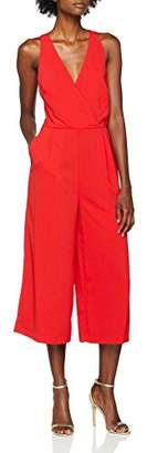 Warehouse Women's V Neck Jumpsuit (Red 61), 8 (Manufacturer Size:8)