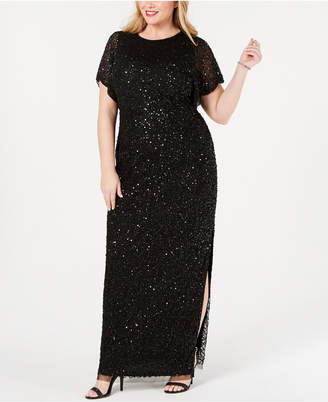 5896af8be75 Adrianna Papell Plus Size Embellished Flutter-Sleeve Gown