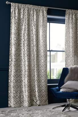 Next Geo Jacquard Eyelet Lined Curtains