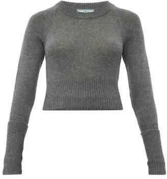Prada Cropped Cashmere Sweater - Womens - Dark Grey