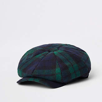 River Island Green check baker boy cap