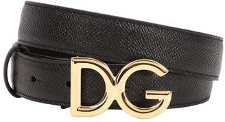 Dolce & Gabbana 25mm Dauphine Leather Belt