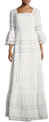 Talitha Collection Embroidered Cotton Prairie Maxi Dress, Ivory