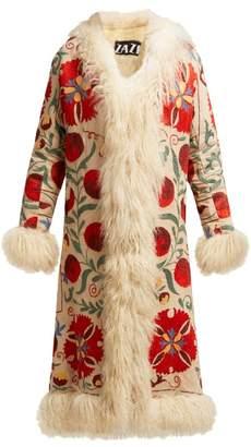 Zazi Vintage - Suzani Embroidered Shearling Coat - Womens - White Multi