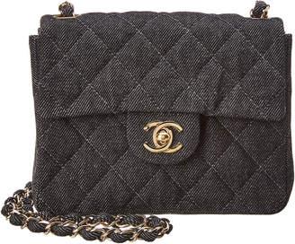 Chanel Limited Edition Black Quilted Denim Mini Half Flap Bag