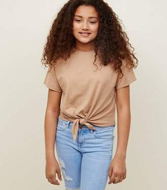 New Look Girls Camel Tie Front T-Shirt