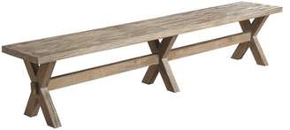 Emerald Home Barcelona Rustic Pine Bench with Solid Wood, Cross Leg Base