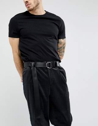 Asos DESIGN Slim Woven Long Ended Belt In Black With D-Ring Fastening