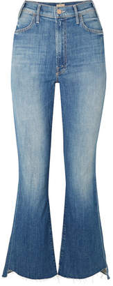 Mother The Hustler Two Step Frayed High-rise Flared Jeans - Mid denim