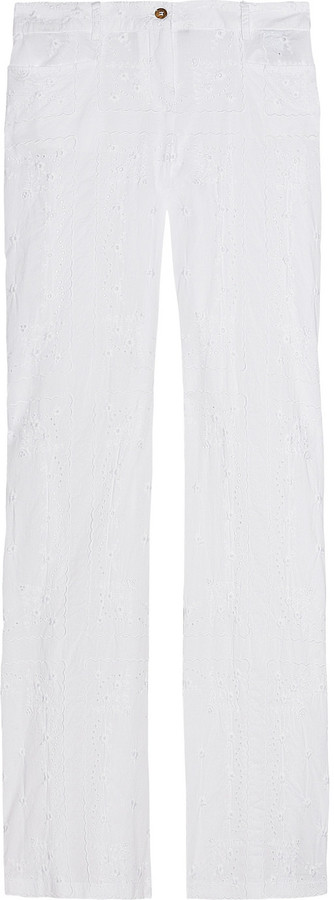 D&G Embroidered eyelet cotton wide-leg pants
