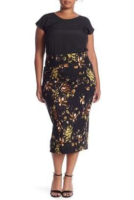Seven7 Jungle Flower Pencil Skirt (Plus Size)