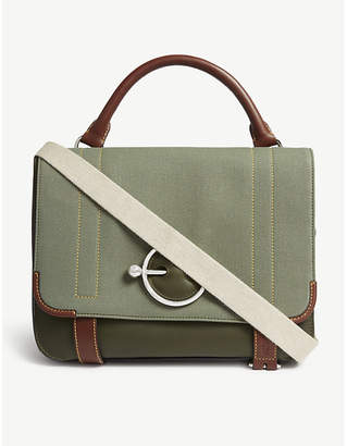 J.W.Anderson Military Green Stripe Disc Leather Satchel