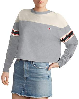 Champion Striped-Sleeve Cropped Tee