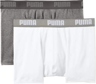 Puma 2-Pack Men's Basic Boxer Briefs, White / Grey Melange