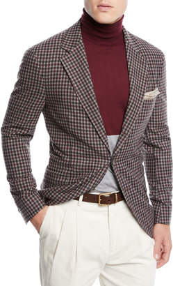 Brunello Cucinelli Men's Check Wool Three-Button Sport Coat Jacket
