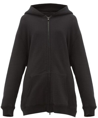 Raey Zip Through Japanese Jersey Hooded Sweatshirt - Womens - Black